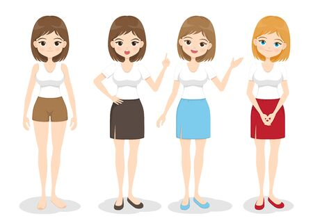 Young woman standing in different poses, color of hair and dress. Flat cartoon girl with body parts, head, face, legs, arms,  hands gestures and face emotions . Vector illustration.