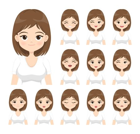 Young woman with different facial expressions. Flat cartoon girl with various emotions isolated on white background. Vector illustration. Vectores