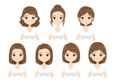 Young woman with different hair styles isolated on white background. Vector illustration.