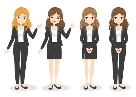 Young businesswoman in office clothes with different hand poses and color of hair. Flat cartoon girl in formal uniform (dress, pants, suit). Vector illustration.