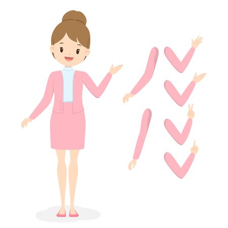 Young business woman in pink office clothes with different hand and arm poses. Flat cartoon girl in uniform. Vector illustration.