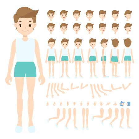 Young man in white singlet and brown shorts. Front, back, side, 3/4 view, turn around character. Flat cartoon boy with parts of body, face expression, arm, leg, and hand pose. Vector illustration. Vectores