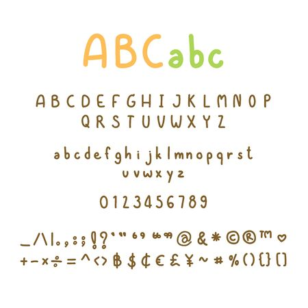Cute alphabets set, handwritten ABC letters and typography elements on white background, vector illustration.