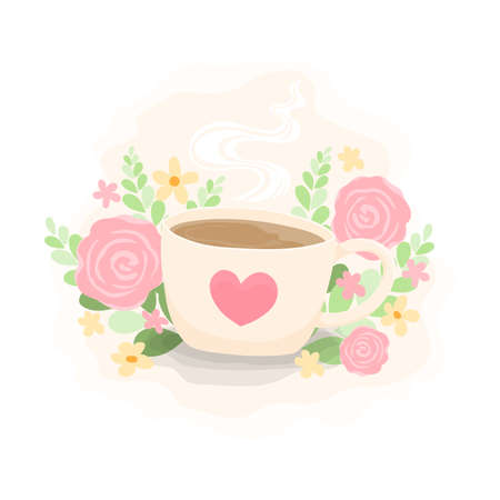 Hot coffee cup with cute blooming flowers background. Light color mug with heart pattern. Vector Illustration.