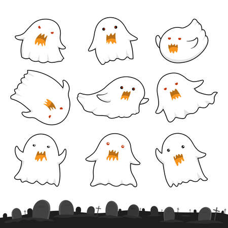 Halloween ghosts collection, cute cartoon spooky. Vector Illustration. Vectores