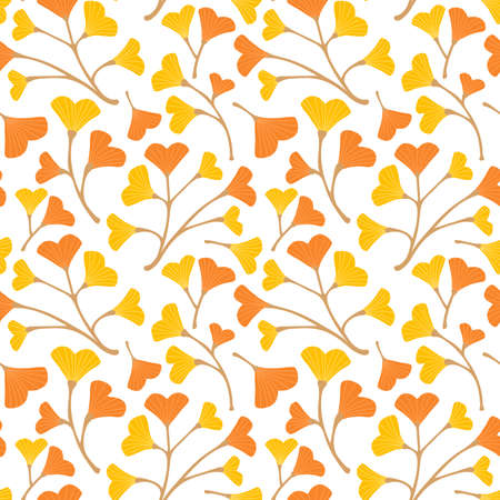 Orange and yellow ginkgo leaves seamless pattern. Vector Illuatration.