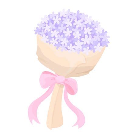 Bouquet of violet flowers with pink ribbon. Vector Illustration.