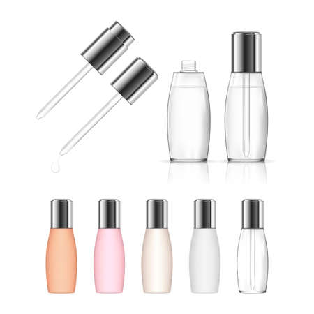Cosmetic transparent bottle with dropper isolated on white background. Beauty product package. Vector illustration.