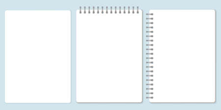 Blank paper set, template of spiral notebook and notepad sheets. Vector Illustration.