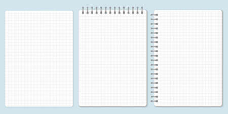 Squared paper set, template of spiral notebook and notepad sheets. Vector Illustration.