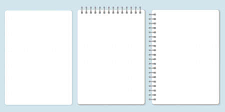 Dot paper set, template of spiral notebook and notepad sheets. Vector Illustration. Vectores