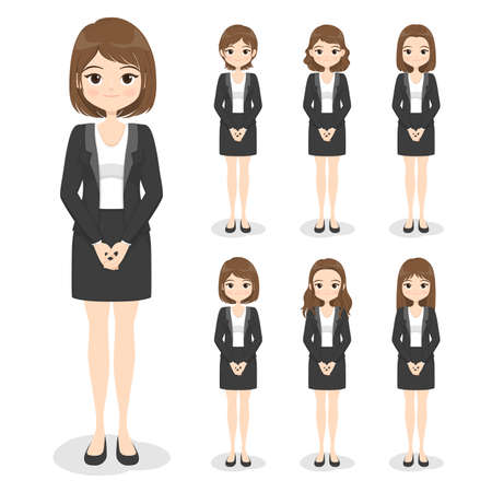 Young business woman in office clothes with hand poses and hair style. Flat cartoon girl in formal uniform (dress, suit). Vector illustration.