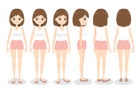 Young woman in white singlet and pink shorts. Front, back, side and 3/4 view, turn around character. Flat cartoon girl. Vector illustration.