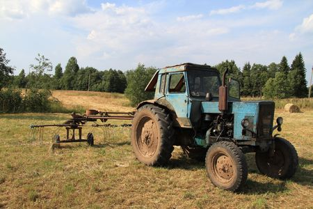 Old tractor on the farm. photo