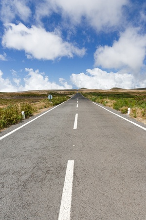 Neverending street on the plato of Paul da Serra zwischen Fanal and Canhas on the island Madeira Stock Photo