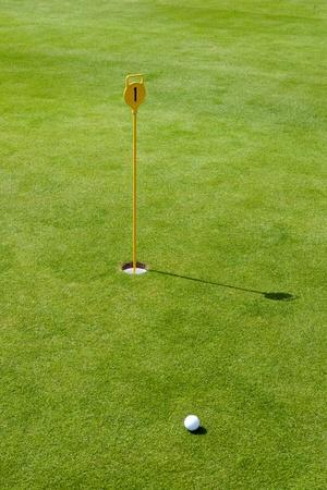golf drapeau: Drapeau de golf avec ballon et vert Banque d'images