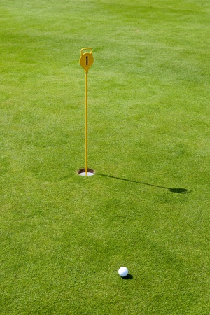 Golf flag with ball and green photo