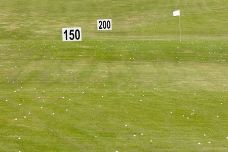 Golf balls and green with flag and signs