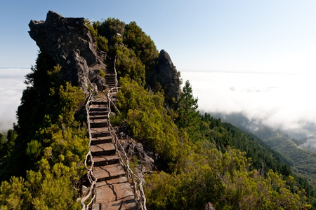 narrow path on a cliff with sky in background