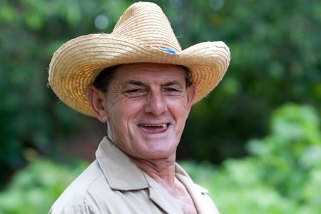 Portrait of elder farmer in garden, near havanna, Cuba in 2009