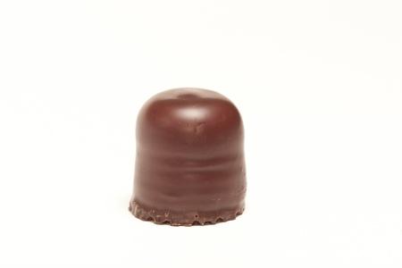 Closeup of chocolate marshmallow on white background Stock Photo