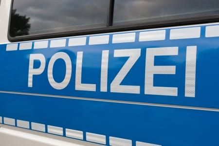 German Police  Polizei  on a car