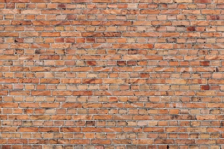 Facebrick brick wall texture with pale orangey red clay bricks in a repeat parallel row construction