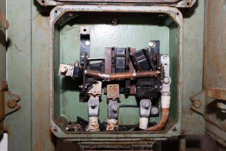 Photograph of an open old electricity board