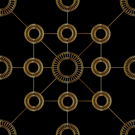 Golden circles and lines on black background seamless pattern