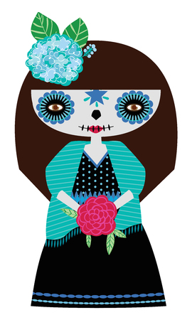 Whimsical day of the dead Catrina doll in blue colors.