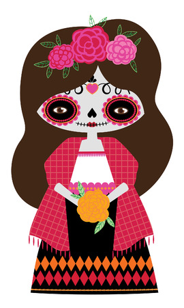 Whimsical day of the dead Catrina doll in red colors.