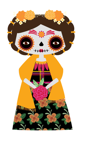 Whimsical day of the dead Catrina doll in yellow colors. Illustration