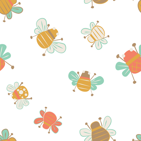 Vector cute bees seamless pattern background. Ideal for all kinds of crafts, wallpapers, fabrics and quilting