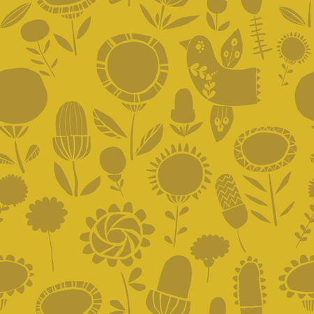 Vector monochrome silhoutte floral seamless pattern background. Ideal for fabrics, textiles, scrapbooking, wallapers and crafts. Illustration