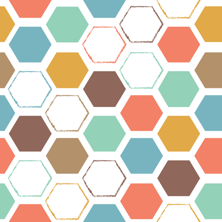 Vector abstract hexagonal colorful seamless pattern background. Ideal for fabrics, textiles, scrapbooking, wallapers and crafts.