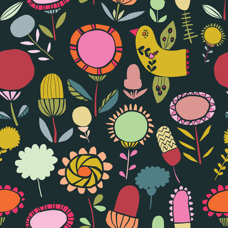 Vector colorful folk floral seamless pattern background. Ideal for fabrics, textiles, scrapbooking, wallapers and crafts.