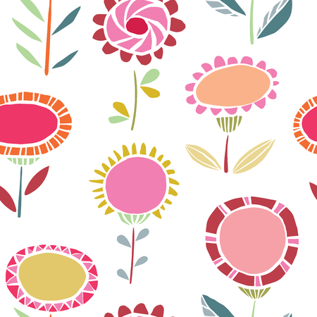 Vector vibrant folk floral seamless pattern background. Ideal for fabrics, textiles, scrapbooking, wallapers and crafts.
