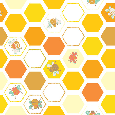 Vector yellows hexagonal tiles with bees seamless pattern background. Ideal for all kinds of crafts, wallpapers, fabrics and quilting