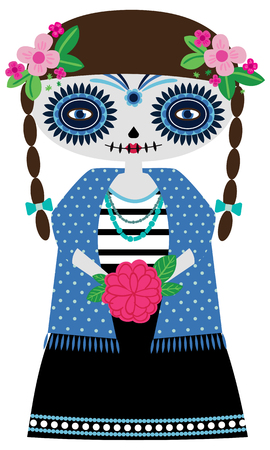 Vector illustration of turoquoise catrina doll on a white background. Celebrating the day of the day and Halloween. Use in scrapbooking, crafts