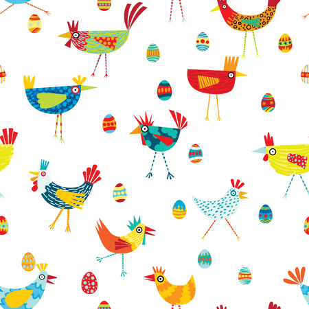 Colorful seamless repeat pattern of chickens on a white background
