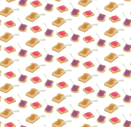 Vector de mantequilla de maní y jalea sin fisuras repetir patrón de fondo. Ideal para telas, textiles, álbumes de recortes, papeles pintados y manualidades