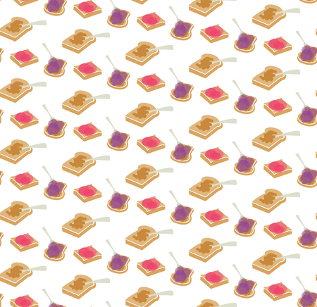 Vector peanut butter and jelly seamless repeat pattern background.Ideal for fabrics, textiles, scrapbooking, wallpapers and crafts.