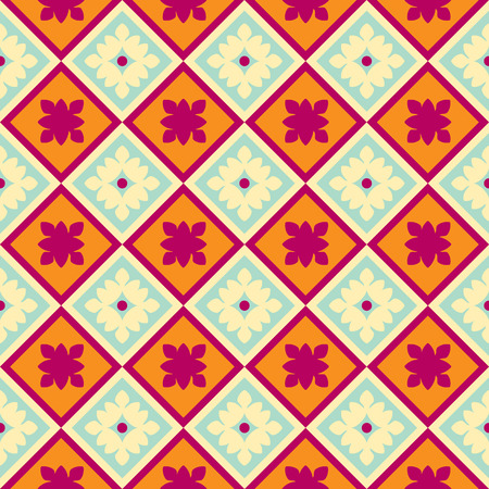 Vector seamless colorful decorative abstract tile background pattern. Traditional tile Vektorové ilustrace
