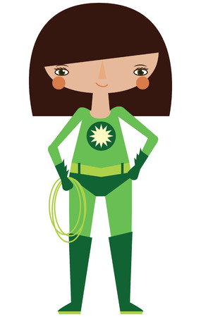 Vector green superheroine graphic editable illustration with super lasso. Use for scrapbooking, crafting, scrapbooking Stock Illustratie