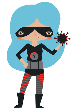 Vector black and red masked superheroine graphic editable illustration with super atomic powers. Use for scrapbooking, crafting, quilting