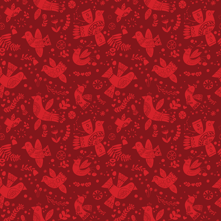 Vector red christmas birds seamless pattern on deep red background. Ideal for fabric, textiles, print on demand, stationery. Use on Holidays like Christmas and Valentines day.