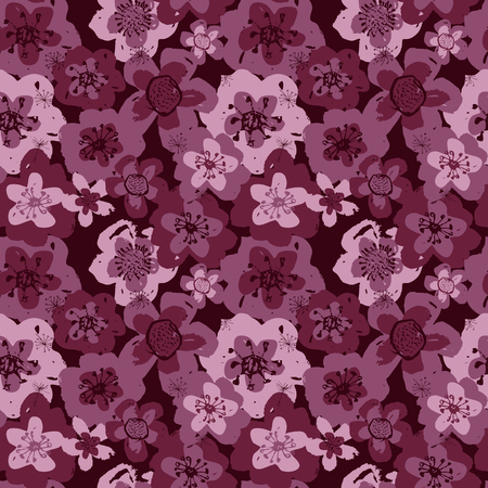 Sophisticated vector pink and burgundy floral seamless pattern background. Sober, festive and fun. Great for backgrounds, wallpapers and textures on invitations, gift wrap and sationery.