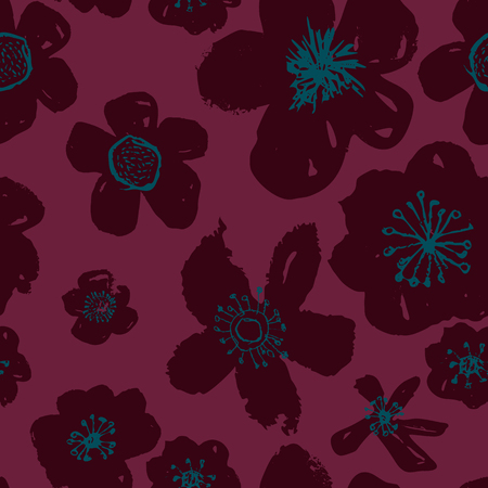 Sophisticated vector pink and burgundy floral seamless pattern background. Sober, festive and fun. Great for backgrounds, wallpapers and textures on invitations, gift wrap and stationery.