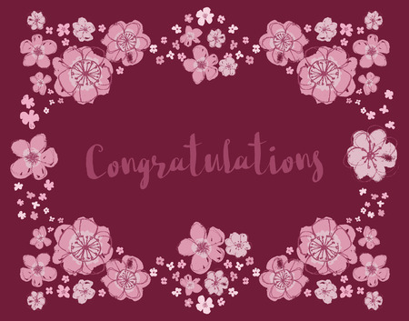 Congratulations vector pink and dark maroon editable floral wreath on a deep burgundy background.