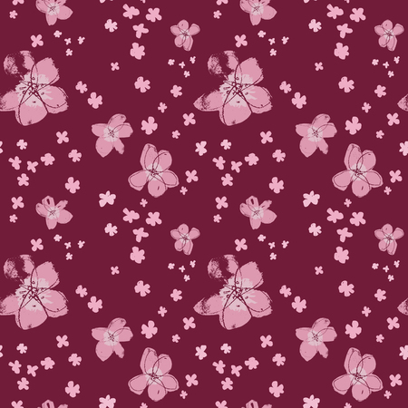Sophisticated vector pink and magenta floral seamless pattern background. Summery, festive and fun. Great for backgrounds, wallpapers and textures on invitations, gift wrap and stationery. Illustration